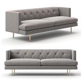 CB2 - Avec grey sofa with brass legs