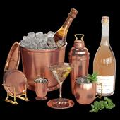 Potterybarn copper bar accessories