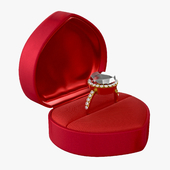 wedding ring in a box heart type