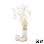 Vase set with dry grass