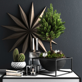 Decor set with pine tree