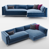 CB2 decker 2-piece blue velvet sectional sofa