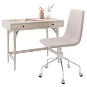 West Elm Mid-Century Mini Desk Pebble & Slope Upholstered Office Chair