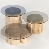 3 round coffee table stump with glass top.