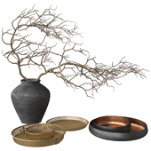 Rustic Set - Vase, Branch, Copper Bowl and Brass Tray
