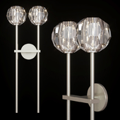 Restoration Hardware BOULE DE CRISTAL GRAND DOUBLE SCONCE Nickel