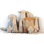 Textile toys (giraffe, elephant, turtle, cow)