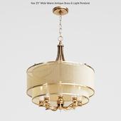 "Possini Euro Nor 23 ""Wide Warm Antique Brass 6-Light Pendant"