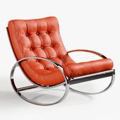 Renato Zevi Chrome & Leather Rocking Chair