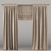 Тёмно-коричневые шторы с римской шторой.