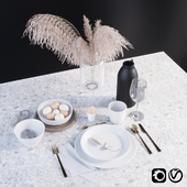 Tableware set with dry grass