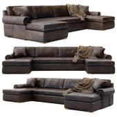 RH Lancaster leather u-chaise sectional