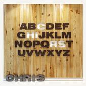 Wooden 3d panel. Alphabet (English)
