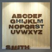 Wooden 3d panel. Alphabet (English) 2