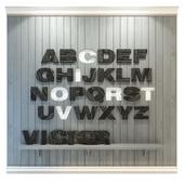 Panel to the nursery. Alphabet (English) gray