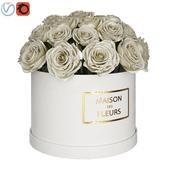 White roses in box