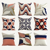 Decorative pink-gray navy blue pillows