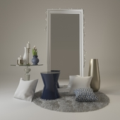 Decorative set wiht mirror and coffee tables