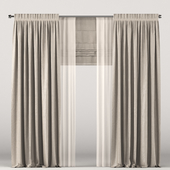 Dark beige curtains with tulle and roman blinds.
