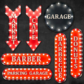 Lighted Metal sign. Set 11