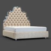 OM Bed Fratelli Barri RIMINI in fabric light beige velor, legs and frame in silver leaf finish, FB.BD.RIM.142