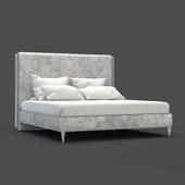 OM Bed Fratelli Barri RIMINI in fabric silver-gray velor, legs in silver finish (AL), FB.BD.RIM.236