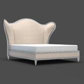 OM Bed Fratelli Barri RIMINI in fabric (Jeanie-02) and silver plating finish, FB.BD.RIM.218