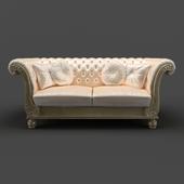 OM Sofa Fratelli Barri VENEZIA in fabric light beige velor (R6012A-40), silver leaf finish, FB.SF.VZ.87