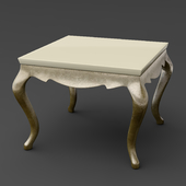 OM Side Table Fratelli Barri VENEZIA in decoration pearl creamy varnish, legs and base in decoration silver leaf, FB.ET.VZ.61