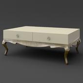OM Coffee table Fratelli Barri VENEZIA in pearl cream lacquer finish, legs and base in silver leaf finish, FB.ET.VZ.51