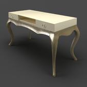 OM Desk Fratelli Barri VENEZIA in pearl cream lacquer finish, legs and base in silver leaf, FB.WD.VZ.78