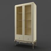 OM Bookcase Fratelli Barri VENEZIA in pearl cream lacquer finish, legs and base in silver leaf finish, FB.BC.VZ.89