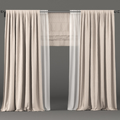 Beige curtains with white tulle and roman blinds.