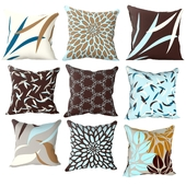 Decorative blue and brown pillows