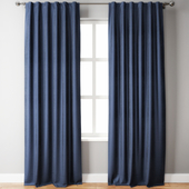 Belgian Flax Linen Curtain Blue Pottery Barn