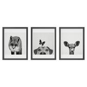 Black and white animals set