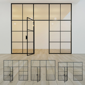 Glass partition. A door. ten