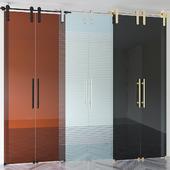 Set of glass sliding doors
