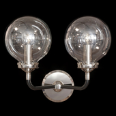 Restoration Hardware BISTRO GLOBE CLEAR GLASS DOUBLE SCONCE Nickel and Black