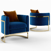 Julius Mica Blue Gold Club chair