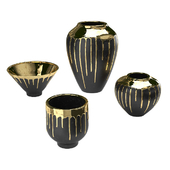 Four vases Isabelina graphite with molten gold