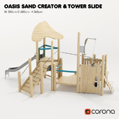 "KOMPAN. ""TOWER WITH SLOT"" and ""OASIS - SAND CREATIVITY"""
