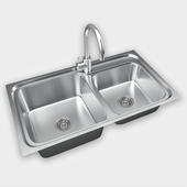 Kitchen stainless steel sink and faucet