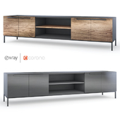 "Crateandbarrel \ Rigby Natural \ Rigby 80.5 ""Wenge Media Console with Base"