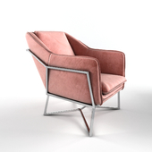 Richmond Interiors armchair Aurelia pink velvet / silver