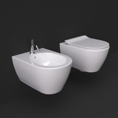 Scarabeo Moon collection wc and bidet wall mounted 5520 and 5521