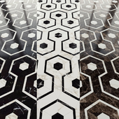 Marble tile hexagon and decor from New Ravenna mosaics