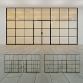 Glass partition. A door. 17