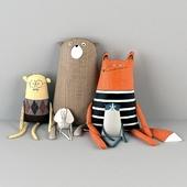 Текстильные игрушки (Лиса, медведь, слон, мужчина)