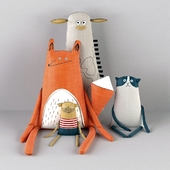 Текстильные игрушки (Лиса, жираф, кот, мужчина)